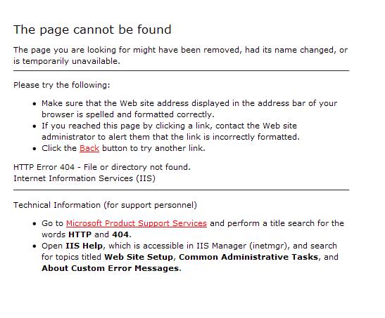 Standard Windows IIS Server 404 Error Page